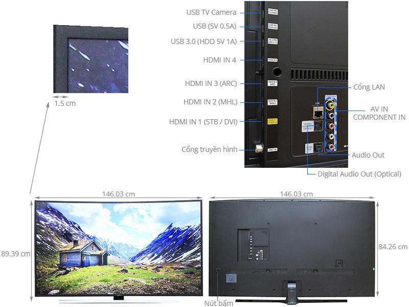 Smart TV Curved Samsung UA65JU6600 hay